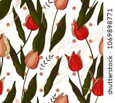 floral pattern with  different...   Shutterstock .eps vector #1069898771