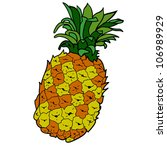 hand drawn colored pineapple... | Shutterstock .eps vector #106989929