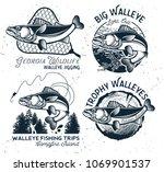 Vintage Walleye Fishing emblem, label and design elements. Vector illustration.