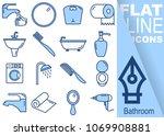 simple set of bathroom vector...   Shutterstock .eps vector #1069908881