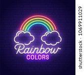 rainbow neon sign  bright... | Shutterstock .eps vector #1069911029