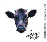 cow calf brown  vector | Shutterstock .eps vector #1069912349