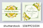 wedding invitation with flowers ... | Shutterstock .eps vector #1069921034