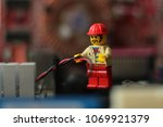 engineer working with cables in ... | Shutterstock . vector #1069921379