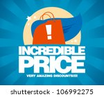 Incredible price, sale design template with shopping bag as a superhero. - stock vector