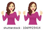 surprised woman thumbs up | Shutterstock .eps vector #1069925414