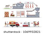 meat factory set with automatic ... | Shutterstock .eps vector #1069932821