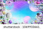 glitch. holographic. abstract... | Shutterstock .eps vector #1069933661