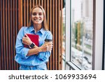 half length portrait of smiling ... | Shutterstock . vector #1069933694