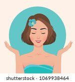 portrait of a beautiful young... | Shutterstock .eps vector #1069938464
