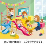 playroom with children playing | Shutterstock .eps vector #1069944911