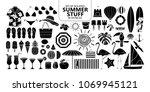 set of isolated silhouette... | Shutterstock .eps vector #1069945121