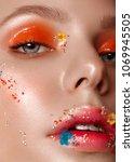 beautiful girl with art make up ... | Shutterstock . vector #1069945505