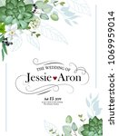 wedding invitation with foliage | Shutterstock .eps vector #1069959014