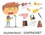 boy singer and musician  kids... | Shutterstock .eps vector #1069963487