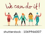 we can do it. feminine concept... | Shutterstock .eps vector #1069966007