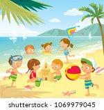 vector illustration with... | Shutterstock .eps vector #1069979045