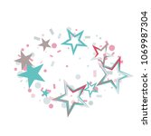 oval christmas colorful stars... | Shutterstock .eps vector #1069987304