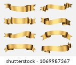 gold ribbon collection.golden... | Shutterstock .eps vector #1069987367