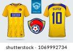 yellow blue soccer jersey ... | Shutterstock .eps vector #1069992734
