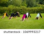 a group of yogis on the lawn in ... | Shutterstock . vector #1069993217