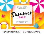 summer sale template banner.... | Shutterstock . vector #1070002991