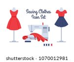 sewing women's clothes vector... | Shutterstock .eps vector #1070012981