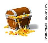 old pirate chest full of...   Shutterstock .eps vector #1070041199