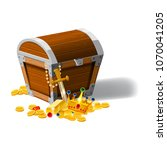 old pirate chest full of...   Shutterstock .eps vector #1070041205