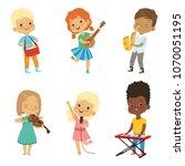 various cartoon kids musicians   Shutterstock .eps vector #1070051195