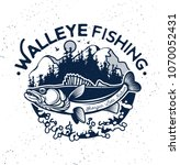 vintage walleye fishing emblem... | Shutterstock .eps vector #1070052431