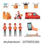 delivery service by van ... | Shutterstock .eps vector #1070053181
