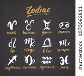 zodiac signs set and letterings.... | Shutterstock .eps vector #1070062811