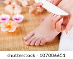 woman doing manicures and... | Shutterstock . vector #107006651