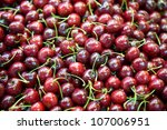 cherries fruit fresh and ripe for sale - stock photo