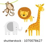 cute jungle animals set. vector ... | Shutterstock .eps vector #1070078627