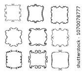 set of vector vintage frames on ... | Shutterstock .eps vector #1070078777