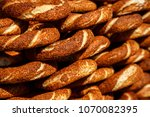 turkish bagel simit with sesame ... | Shutterstock . vector #1070082395