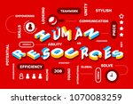 human resources concept on red... | Shutterstock .eps vector #1070083259