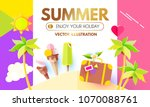 summer background with sweet... | Shutterstock .eps vector #1070088761