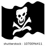 a wavy jolly rodger pirate flag ...   Shutterstock .eps vector #1070096411