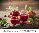 homemade strawberry jam in... | Shutterstock . vector #1070108735