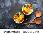 green smoothie in bowls for... | Shutterstock . vector #1070112245