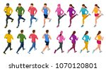 isometric running people. front ... | Shutterstock .eps vector #1070120801