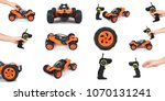 set of different rc model rally ...   Shutterstock . vector #1070131241