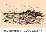 garbage dump sketch | Shutterstock .eps vector #1070131547