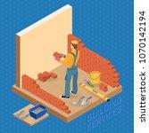 isometric interior repairs... | Shutterstock .eps vector #1070142194