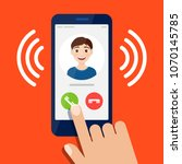 incoming call on the smartphone ... | Shutterstock .eps vector #1070145785