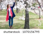young woman springtime in... | Shutterstock . vector #1070156795