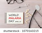 Small photo of World Malaria Day written on notebook with stethoscope,syringe,eyeglasses and pills on wooden desk.Medical concept words.Top view.